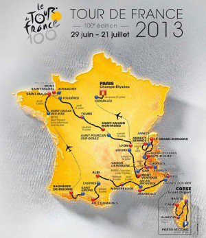 carte du parcours global du Tour de France