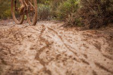 Tracks in the mud during stage 2 of the 2014 Absa Cape Epic Mountain Bike stage race from Arabella Wines in Robertson, South Africa on the 25 March 2014  Photo by Sam Clark/Cape Epic/SPORTZPICS