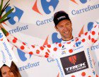 Jens takes the Tour de France polka-dot jersey for the first time since 1998. (Photo by James Startt)