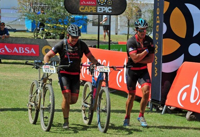 Brothers Sean and Adam Greve #ConqueredAsOne and completed the 2016 Absa Cape Epic despite Adam tearing his shoulder ligaments. - Image Supplied.