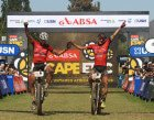 Daniel Geismayr and Hermann Pernsteiner of Centurion Vaude by Meerendal 2 celebrate winning stage 2 during stage 2 of the 2016 Absa Cape Epic Mountain Bike stage race from Saronsberg Wine Estate in Tulbagh, South Africa on the 15th March 2016  Photo by Shaun Roy/Cape Epic/SPORTZPICS