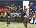Karl Platt and Urs Huber of the Bulls celebrate winning stage 3 during stage 3 of the 2016 Absa Cape Epic Mountain Bike stage race held from Saronsberg Wine Estate in Tulbagh to the Cape Peninsula University of Technology in Wellington, South Africa on the 16th March 2016  Photo by Shaun Roy/Cape Epic/SPORTZPICS