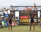 Samuele Porro and Damiano Ferraro of Trek-Selle San Marco A celebrate winning stage 4 during stage 4 of the 2016 Absa Cape Epic Mountain Bike stage race from the Cape Peninsula University of Technology in Wellington, South Africa on the 17th March 2016  Photo by Shaun Roy/Cape Epic/SPORTZPICS