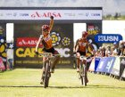 Annika Langvad & Ariane Kleinhans of Spur-Specialized win stage 3 of the 2016 Absa Cape Epic Mountain Bike stage race held from Saronsberg Wine Estate in Tulbagh to the Cape Peninsula University of Technology in Wellington, South Africa on the 16th March 2016  Photo by Gary Perkin/Cape Epic/SPORTZPICS