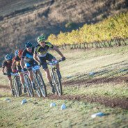 Erik Kleinhans and Jennie Stenerhag showed their mountain biking prowess at the picturesque Arabella Hotel & Spa in Kleinmond on Sunday, 24 April 2016 claiming gold in the men's and women's 50km Cell C Arabella MTB Challenge in a combined finishing time of 04 hours 01 minute 36 seconds and 04 hours 40 minutes 36 seconds respectively.  Seen here:  Erik Kleinhans in the lead on the day.  Photo Credit:  Tobias Ginsberg