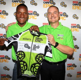 Epic Challenge: Exxaro's Mellis Walker with Justice Makhale, a former professional rider who is now the Exxaro MTB Academy team mentor.