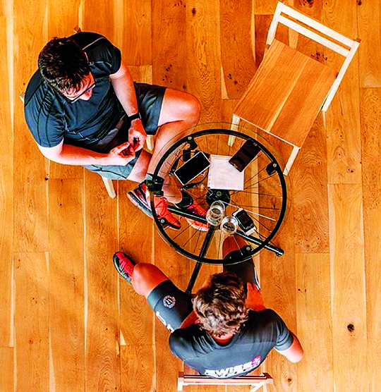 'Be-spoke' furniture - cycling-centric tables at The Grind.