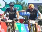 Dudley Turner and Till Streichert #ConquerAsOne to make it to the Stage 4 finish line - image by Backpage Pix.