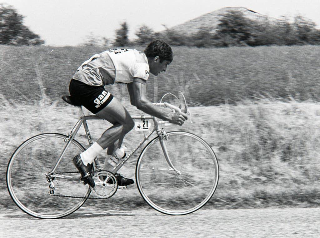 Raymond Poulidor in full TT flight in the 1976 Tour de France